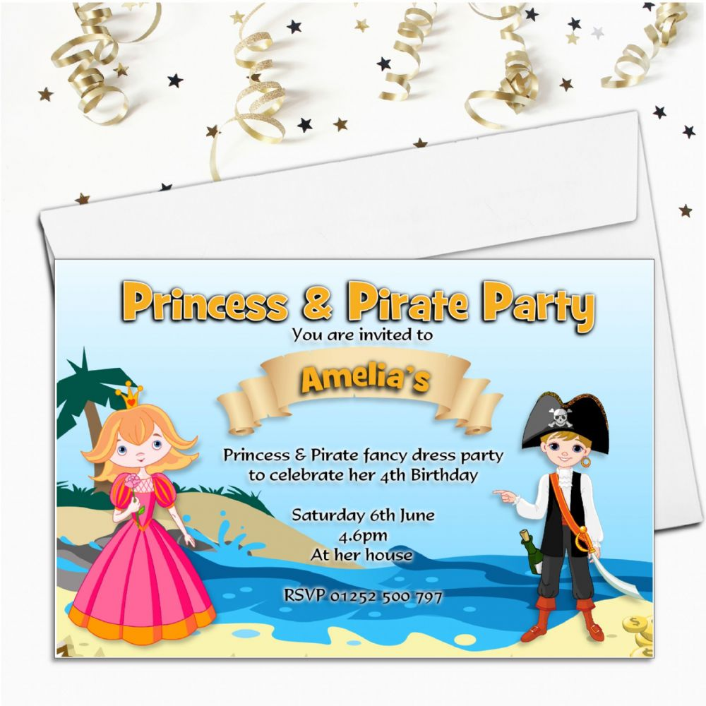 Personalised Princess And Pirate Birthday Party Invitations N71